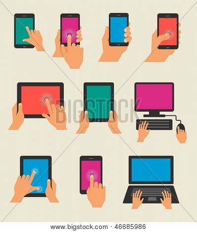 Set of hands holding tablet and  smart phone