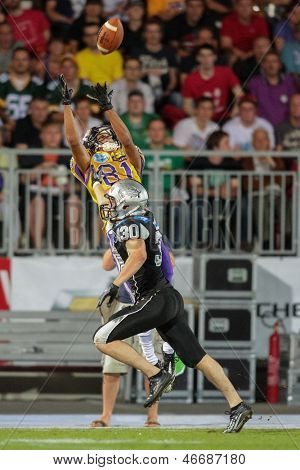 VIENNA, AUSTRIA - JULY 28 WR Laurinho Walch (#81 Vikings) catches the ball on July 28, 2012 in Vienna, Austria.