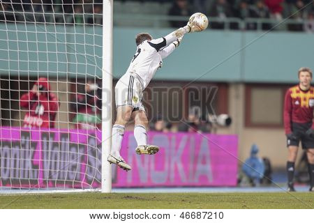 VIENNA, AUSTRIA - DECEMBER 6 Oleandr Groyainov (#29 Metalist) catches the ball on December 6, 2012 in Vienna, Austria.