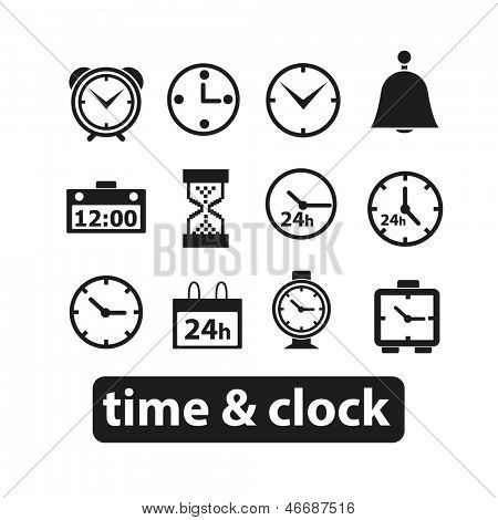 time, time management clock icon, sign set, vector