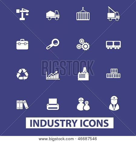 industria, logística, construcciones, manufactury iconos, señales set, vector