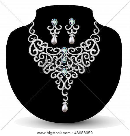 Collar y aretes, boda Womens diamante