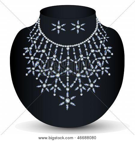 Ilustración de un collar con ella con piedras preciosas
