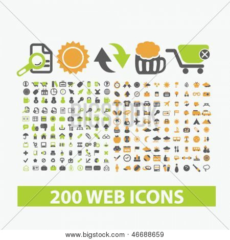 200 web, internet, business, office icons set, vector