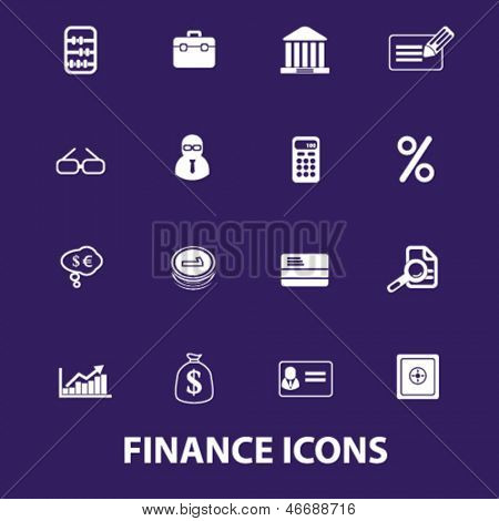 finance, money, bank, accounting services icons, signs set, vector