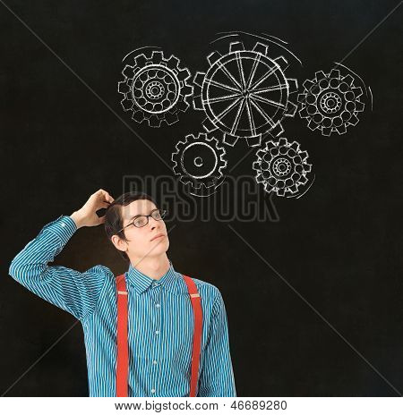 Nerd Geek Businessman Student Teacher Chalk Thinking Gears Cogs