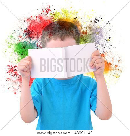 Little Boy Reading Art Book With Paint On White