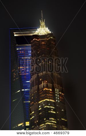 Large Financial Center Skyscrapers At Night Shanghai China
