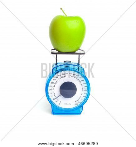 Green Apple On Scale
