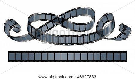 twisted film reel isolated on white background - eps10 vector illustration