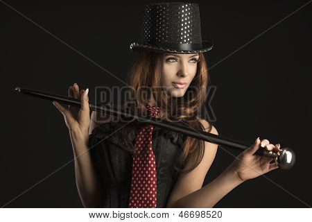 Cabaret Woman Playing With Stick