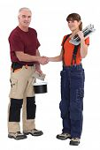 Tradespeople forming a partnership