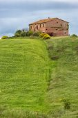 Tuscany farmhouse with fields and flowers, Val d'Orcia, Italy