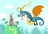 stock photo of dragon  - vector illustration of a cute dragon with castle - JPG