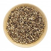 whole hemp seeds in a small bowl isolated on white, top view