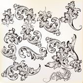 pic of swirly  - Vector set of swirl vintage ornaments for design - JPG