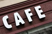 stock photo of shopping center  - Cafe sign shot outside - JPG