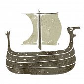 image of viking ship  - retro cartoon viking ship - JPG