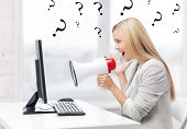 image of pissed off  - picture of strict businesswoman shouting in megaphone - JPG