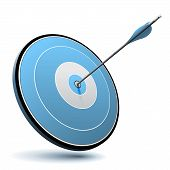 stock photo of archery  - One arrow hit the center of a blue target - JPG