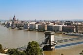 the chain bridge is one of the landmarks of budapest in hungary poster