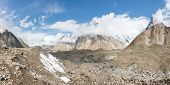 stock photo of skardu  - Baltoro Glacier Panorama in the Karakorum Mountains Pakistan - JPG