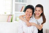 foto of japanese woman  - Senior woman and daughter - JPG