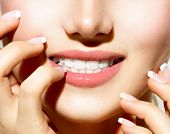 Healthy Skin, Manicured Nails and White Teeth closeup. Beauty Girl, Healthy Young Woman close-up. Te