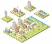 stock photo of power transmission lines  - Isometric nuclear power facility - JPG