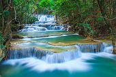 image of emerald  - Deep forest Waterfall in Kanchanaburi Western of Thailand - JPG