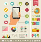 image of economics  - mobile phone with icons  - JPG