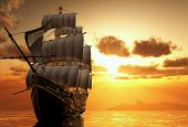 picture of passenger ship  - Yacht in the sea at sunset - JPG