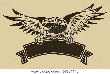 Eagle with ribbon