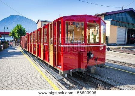 Steam Trainn Railway Carriage Going To Schafberg Peak