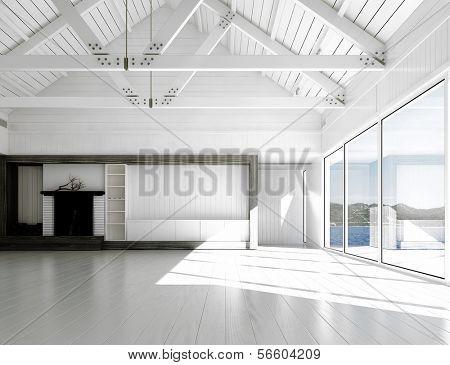 Render 3D de cuarto vacío blanco con grandes ventanales y vistas panorámicas.