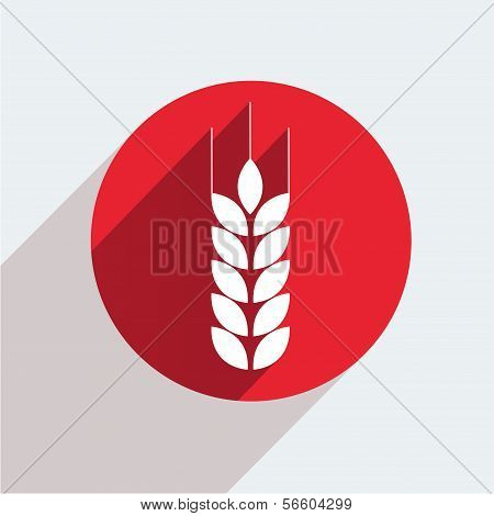 Vector red circle icon  on gray background. Eps10