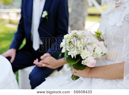 Beautiful Wedding Bouquet In The Bride's Hands