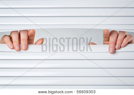 Two Hands Opening Shutters