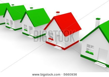 Red house within green ones