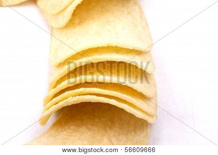 Potato Crisps (chips) On A White Background