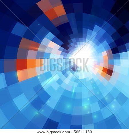 Blue abstract concentric mosaic tiles background