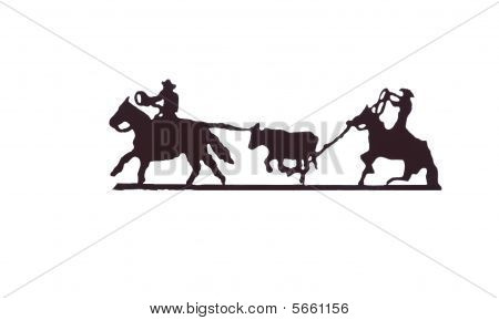 Buckaroos - Cowboys With Lariats Roping Cattle From Their Horses