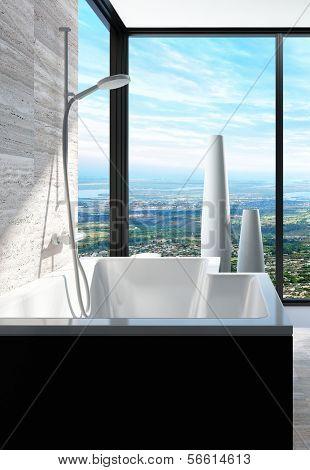 Moderne Badewanne in einem Badezimmer-Interieur mit raumhohen Fenstern mit Panoramablick