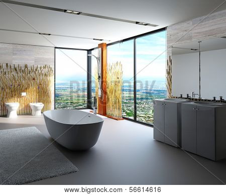 Awesome nature style bathroom interior with modern furniture decorated with reeds / cattails