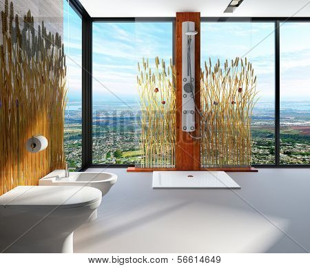 Awesome nature style bathroom interior with shower cubicle and toilet. Room is decorated with reeds / cattails
