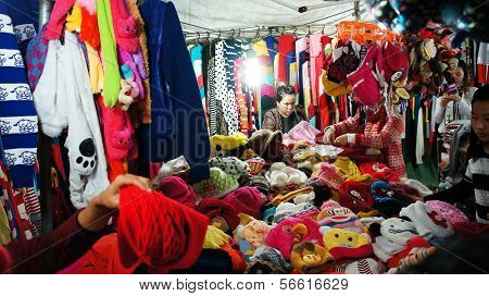 Activity Of Traveler (tourist) In Outdoor Market At Night