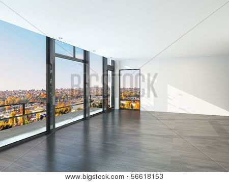 Empty sunny room with large windows and scenic view.