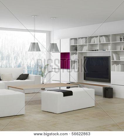 Moderna sala de estar con muebles blancos con estilo