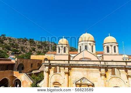 Monastery (friary) In Messara Valley At Crete, Greece. Messara - Is  Largest Plain In  Island Crete