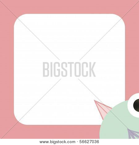 Vector Greeting Card With A Funny Green Bird